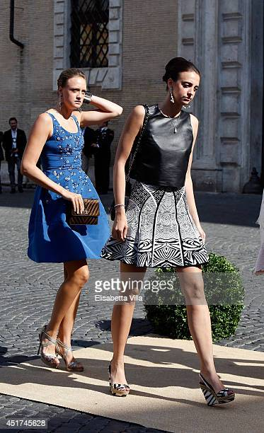Olympia von und zu ArcoZinneberg attends the wedding of Prince Amedeo Of Belgium and Elisabetta Maria Rosboch Von Wolkenstein at Basilica Santa Maria...