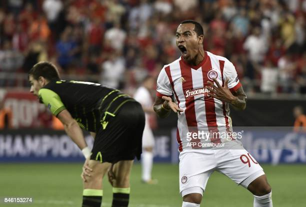 Olympiacos' Colombian midfielder Felipe Pardo celebrates his second goal during the Group D UEFA Champions League football match between Olympiacos...