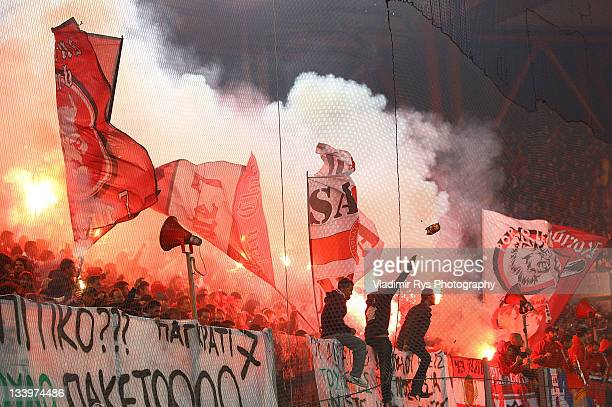 Olympiacos fans are pictured during the Super League match between Olympiacos Piraeus and Panathinaikos FC at Karaiskaki Stadium on November 19, 2011...