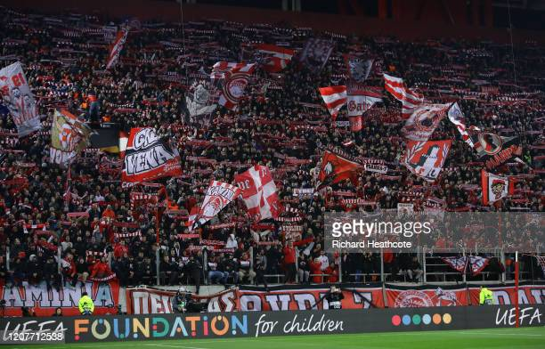 Olympiacos fans during the UEFA Europa League round of 16 first leg match between Olympiacos FC and Arsenal FC at Karaiskakis Stadium on February 20...