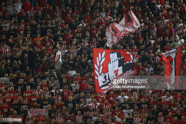 Olympiacos fans show their support during the UEFA Champions League group B match between Olympiacos FC and Tottenham Hotspur at Karaiskakis Stadium...