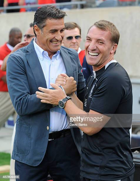 Olympiacos FC Coach Michel and Liverpool Coach Brendan Rodgers before the start of the match the International Champions Cup 2014 on July 27 2014 at...