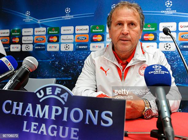 Olympiacos FC coach Zico holds a press conference in Liege on November 3 2009 on the eve of their Champions League football match against Standard de...
