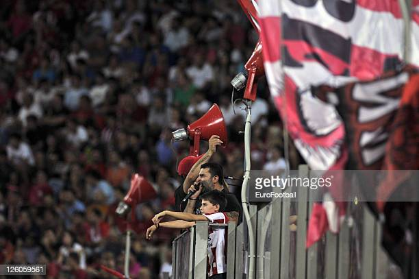 Olympiacos FC fans at the Karaiskakis Stadium, home of Olympiacos FC during the Greek Super League match between Olympiacos FC and Xanthi FC at the...