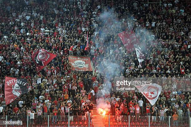 Olympiacos FC fans at the Karaiskakis Stadium home of Olympiacos FC during the Greek Super League match between Olympiacos FC and Xanthi FC at the...