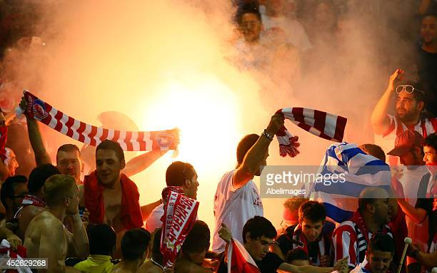 Olympiacos FC fans light flares at the conclusion of the game against of AC Milan during International Champions Cup 2014 action at BMO Field July 24...