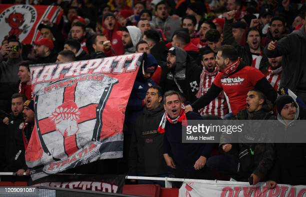 Olympiacos FC fans look on prior to the UEFA Europa League round of 32 second leg match between Arsenal FC and Olympiacos FC at Emirates Stadium on...