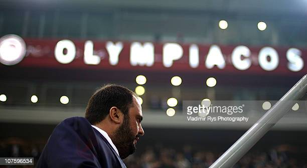 Olympiacos FC vice president Evangelos Marinakis is pictured during the 8th UN Annual Match Against Poverty between Olympiacos FC and AllStar Team at...