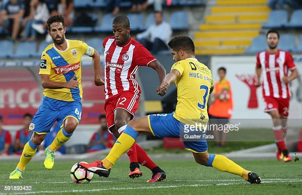 Olympiacos FC's forward from Brazil Seba with FC Arouca's defender Hugo Basto and FC Arouca's midfielder Nuno Coelho in action during the UEFA Europa...