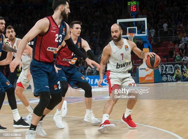 Olympiacos Greek guard Vassilis Spanoulis handles the ball during the Turkish Airlines EuroLeague match between Kirolbet Baskonia Vitoria Gasteiz and...
