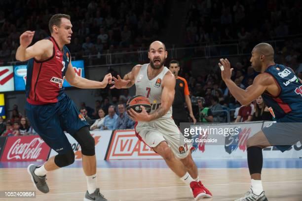 OlympiacosÕ Greek guard Vassilis Spanoulis handles the ball during the Turkish Airlines EuroLeague match between Kirolbet Baskonia Vitoria Gasteiz...