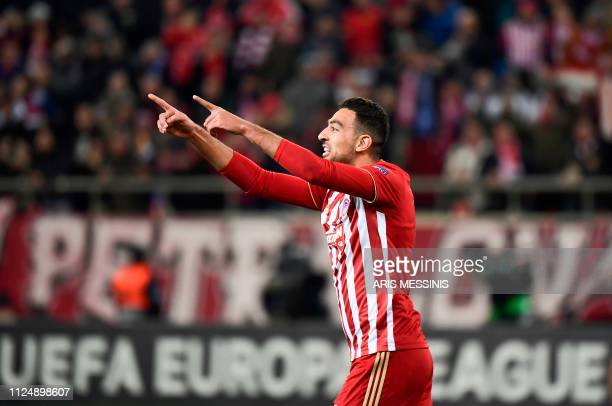 Olympiacos Mohamed Camara celebrates after scoring during the UEFA Europa League round of 32 first leg football match between Olympiacos FC and FC...
