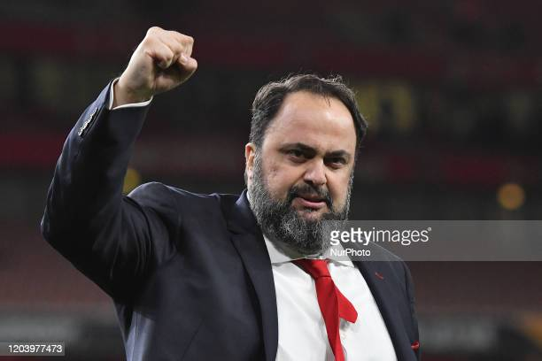 Olympiacos owner Evangelos Marinakis celebrating the victory during the UEFA Europa League match between Arsenal and Olympiacos FC at the Emirates...