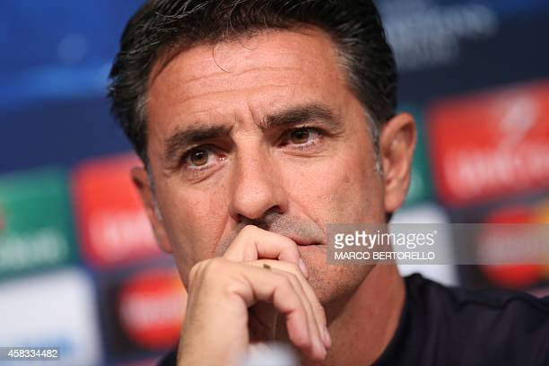 Olympiacos' Spanish coach Michel gives a press conference on the eve of the Champions League football match Juventus vs Olympiacos on November 3 2014...