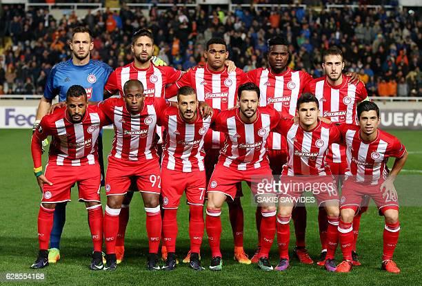 Olympiacos' starting eleven goalkeeper Nicola Leali defender Manuel Da Costa defender Bruno Viana forward Brown Ideye midfielder Kostas Fortounis...