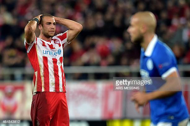 Olympiacos' Swiss midfielder Pajtim Kasami reacts during the UEFA Europa League Round of 32 secong leg football match Olympiacos FC vs FK Dnipro in...