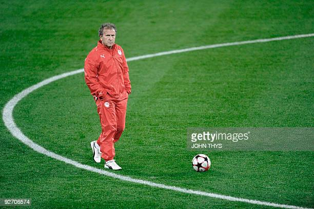 Olympiacos's coach Zico walks during a training session on November 3 2009 on the eve of their Champions League football match against Standard de...