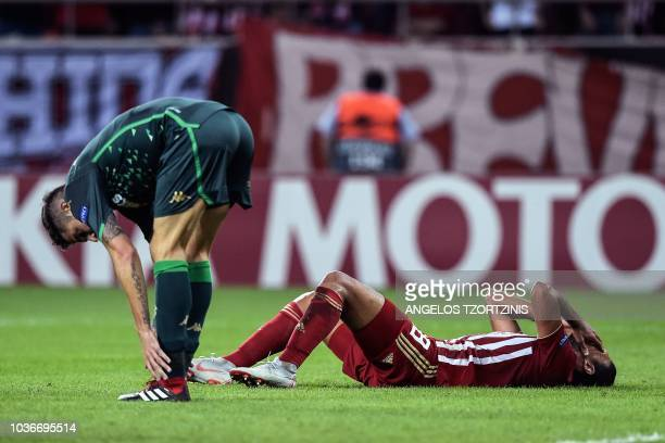 Olympiakos' Ahmed Hassan reacts during the UEFA Europa League Group F football match between Olympiakos Piraeus and Real Betis atthe Karaiskaki...