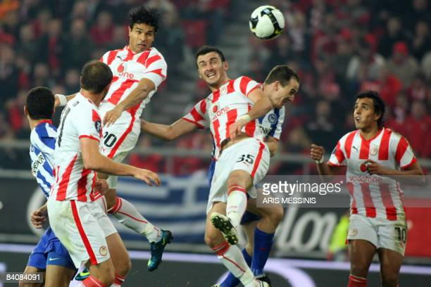 Olympiakos' Dudu scores against Herta during their group B UEFA Cup soccer match against Olympiakos at the Karaiskaki stadium in Piraeus near Athens...