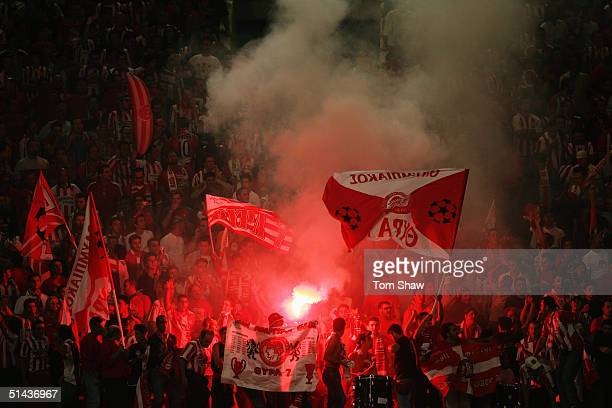 Olympiakos fans during the Champions League Group A match between Olympiakos and Liverpool in the Karaiskaki Stadium on September 28 2004 in Athens,...