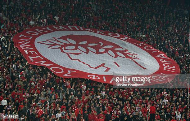 Olympiakos fans during the UEFA Champions League Group H match between Olympiakos and Arsenal at the Georgios Karaiskakis Stadium on December 9 2009...