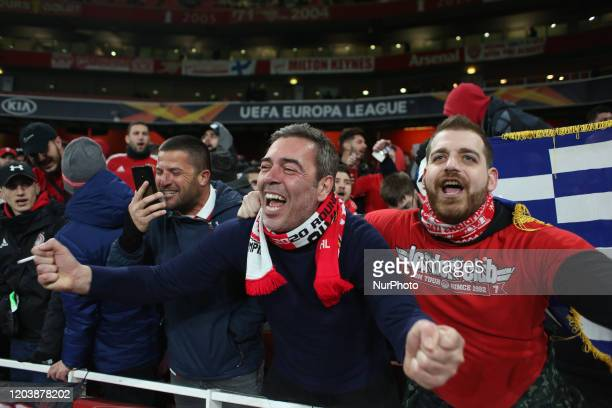 Olympiakos fans reacts during the 2019/20 UEFA Europa League 1/32 playoff finale game between Arsenal FC and Olympiakos FC at Emirates Stadium, in...