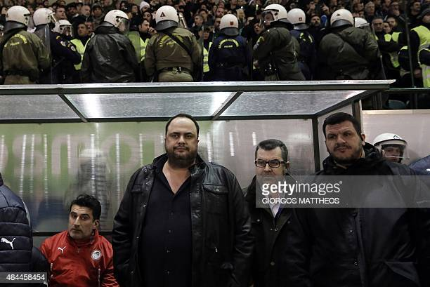 Olympiakos football club President and owner Evangelos Marinakis attends the football game between Athens archrivals Olympiakos and Panathinaikos on...