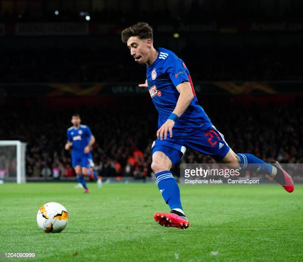 Olympiakos' Konstantinos Tsimikas during the UEFA Europa League round of 32 second leg match between Arsenal FC and Olympiacos FC at Emirates Stadium...