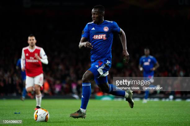 Olympiakos' Mady Camara during the UEFA Europa League round of 32 second leg match between Arsenal FC and Olympiacos FC at Emirates Stadium on...