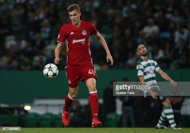 Olympiakos Piraeus defender Bjorn Engels from Belgium in action during the UEFA Champions League match between Sporting Clube de Portugal and...