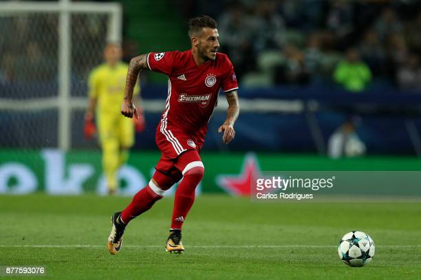 Olympiakos Piraeus defender Diogo Figueiras from Portugal during the UEFA Champions League match between Sporting CP and Olympiakos Piraeus at...
