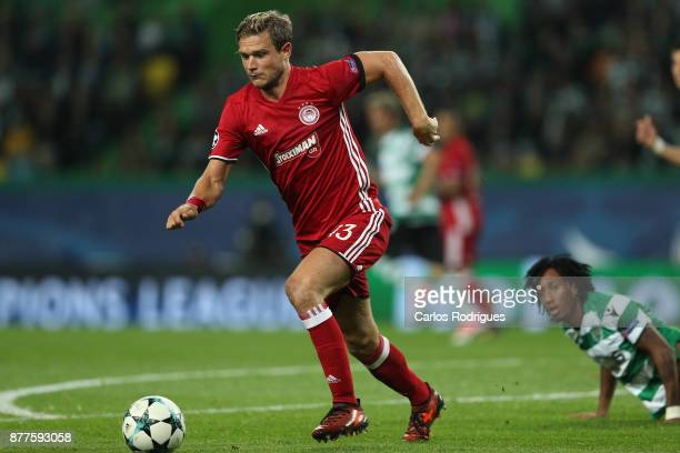 Olympiakos Piraeus defender Leonardo Koutris from Greece during the UEFA Champions League match between Sporting CP and Olympiakos Piraeus at Estadio...