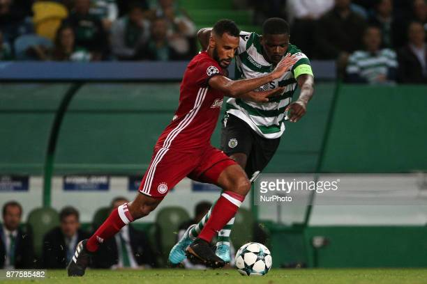 Olympiakos Piraeus midfielder Alaixys Romao and Sportings midfielder William Carvalho during the UEFA Champions League group D match between Sporting...
