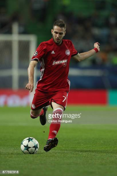 Olympiakos Piraeus midfielder Kostas Fortounis from Greece during the UEFA Champions League match between Sporting CP and Olympiakos Piraeus at...