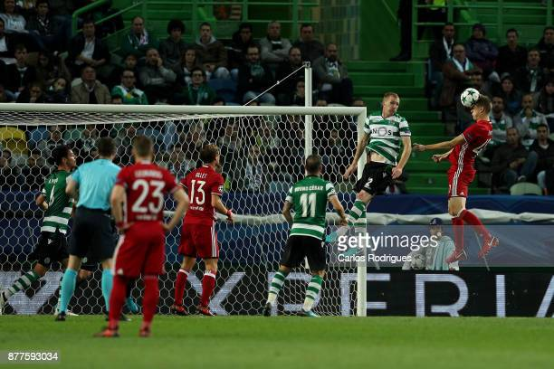 Olympiakos Piraeus midfielder Marko Marin from Germany heads the ball during the UEFA Champions League match between Sporting CP and Olympiakos...