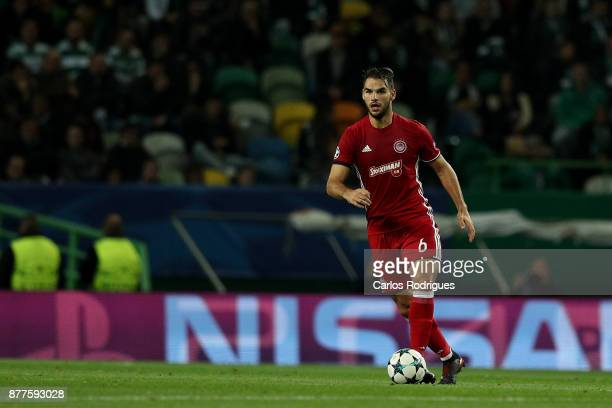 Olympiakos Piraeus midfielder Panagiotis Tachtsidis from Greece during the UEFA Champions League match between Sporting CP and Olympiakos Piraeus at...
