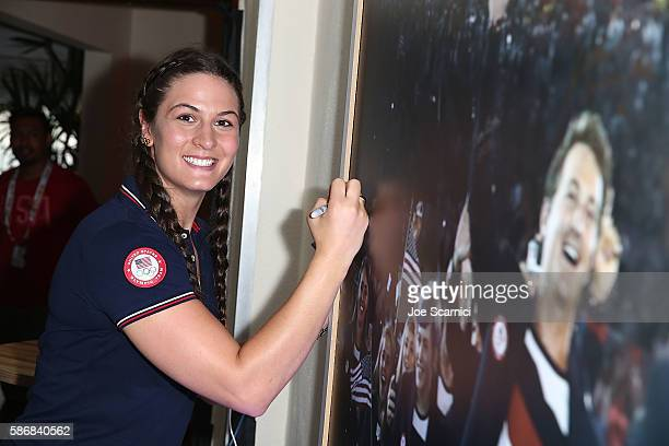 S Olympian Adeline Gray visits the USA House at Colegio Sao Paulo on August 5 2016 in Rio de Janeiro Brazil