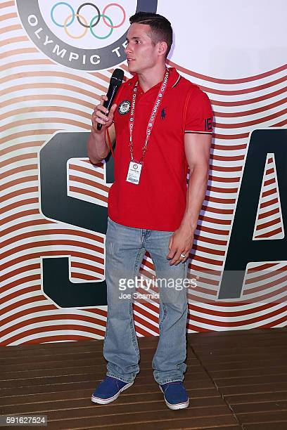 S Olympian Alex Naddour speaks onstage during the Order of Ikkos Ceremony at the USA House at Colego Sao Paulo on August 5 2016 in Rio de Janeiro...