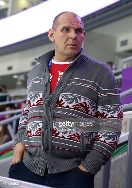 Olympian Alexander Karelin of Russia attends the Men's Ice Hockey Semifinal Playoff between Sweden and Finland on Day 14 of the 2014 Sochi Winter...