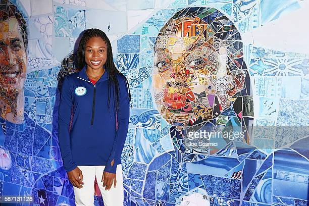 S Olympian Allyson Felix attends a Citihosted event on the terrace of the USA House on August 7 in Rio de Janeiro Brazil
