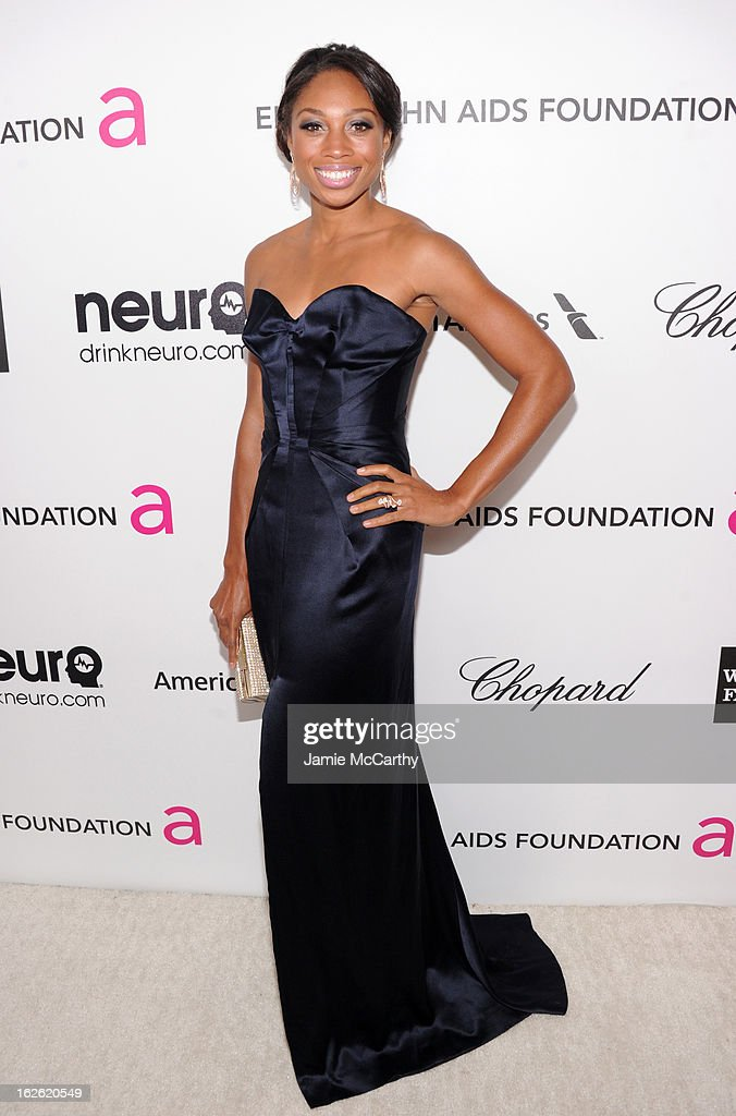 Olympian Allyson Felix attends the 21st Annual Elton John AIDS Foundation Academy Awards Viewing Party at West Hollywood Park on February 24, 2013 in West Hollywood, California.