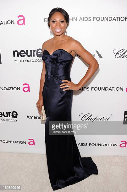 Olympian Allyson Felix attends the 21st Annual Elton John AIDS Foundation Academy Awards Viewing Party at West Hollywood Park on February 24 2013 in...