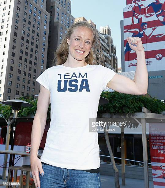 Olympian Becky Sauerbrunn attends A Toast To Team Budweiser mural unveiling at Bar Local on June 9 2016 in New York City