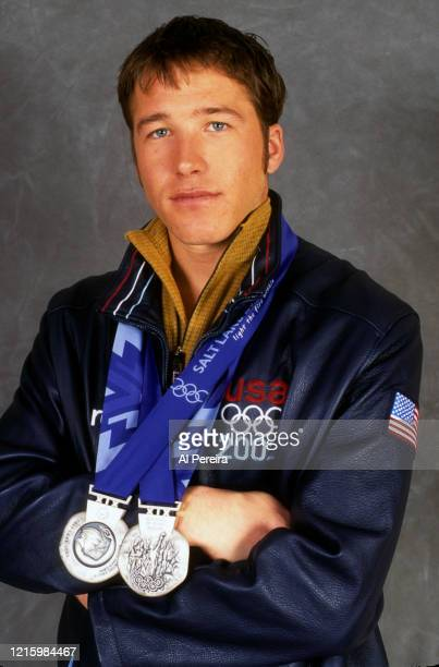 Olympian Bode Miller takes a portrait with his two Silver Medals on February 25, 2002 in New York City.