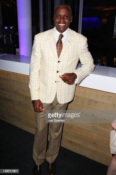 Olympian Carl Lewis attends the US Olympic Committee Benefit Gala at USA House at the Royal College of Art on July 26 2012 in London England