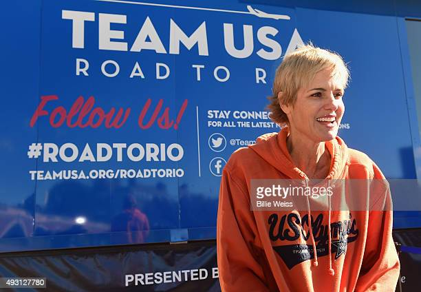 Olympian Dara Torres attends a Road to Rio Tour presented by Liberty Mutual Insurance event on October 17 2015 at the Head of the Charles Regatta in...