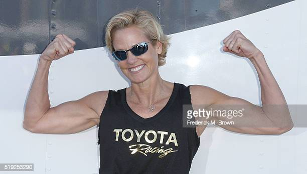 Olympian Dara Torres waits for the start of the practice session for the 42nd Toyota Grand Prix of Long Beach Press Day on April 5 2016 in Long Beach...