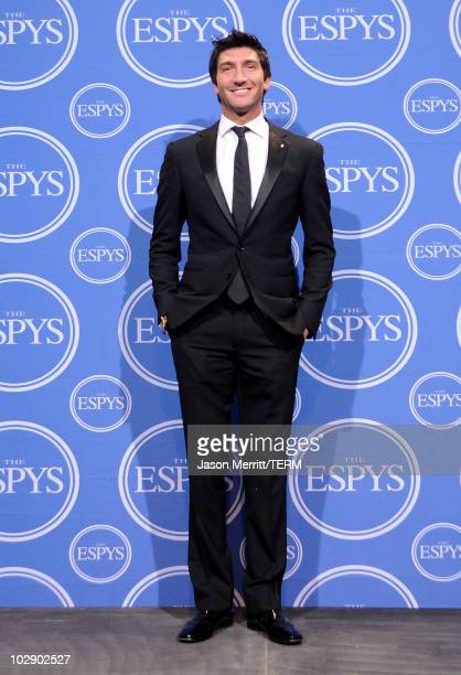 US olympian Evan Lysacek poses in press room during the 2010 ESPY Awards at Nokia Theatre LA Live on July 14 2010 in Los Angeles California