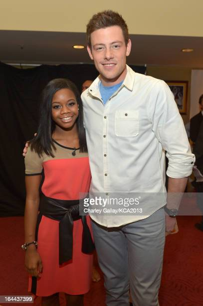Olympian Gabby Douglas and actor Cory Monteith seen backstage at Nickelodeon's 26th Annual Kids' Choice Awards at USC Galen Center on March 23 2013...