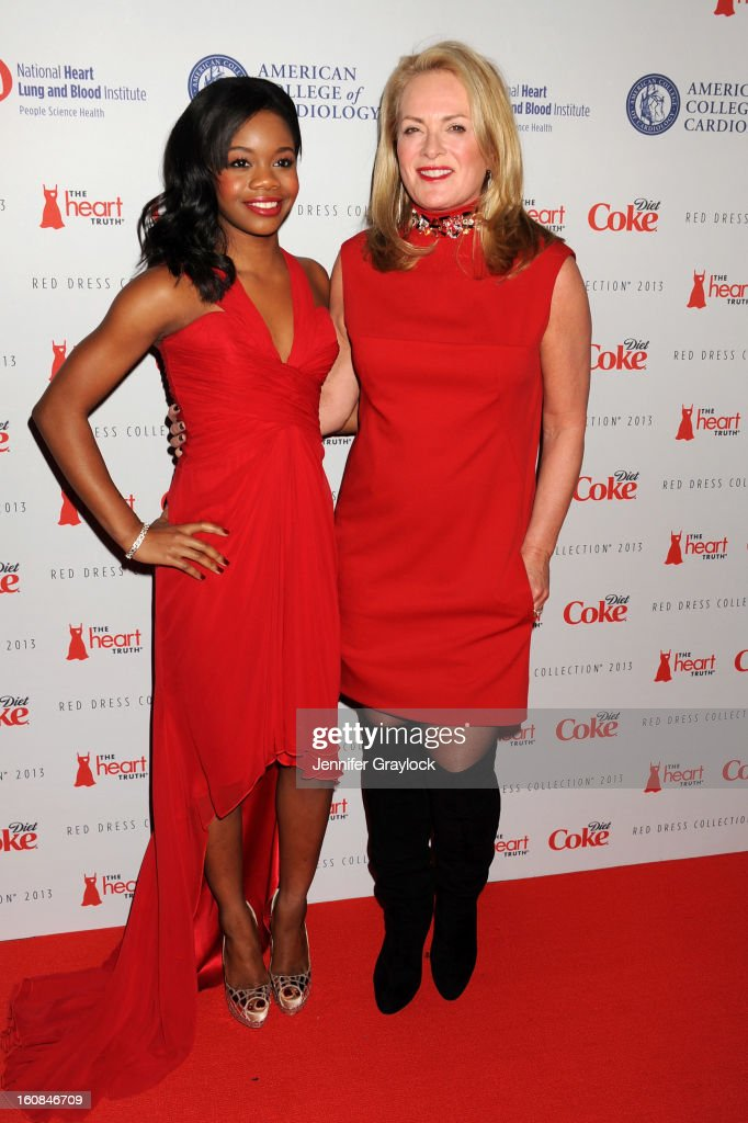 Olympian Gabby Douglas and designer Pamella Roland attend The Heart Truth 2013 Fashion at Hammerstein Ballroom on February 6, 2013 in New York City.